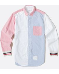 Thom Browne Classic Fit Round Collar Shirt - Oxford W/ Stripe Rib Cuff - Lyst