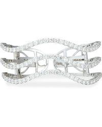 Bessa - 18k White Gold And Diamond Wave Cuff - Lyst