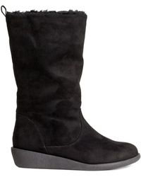 H&M Black Lined Boots - Lyst