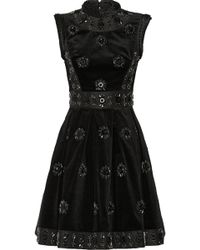 Erdem Justine Embellished Velvet Faille and Jacquard Mini Dress - Lyst