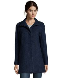 Anne Klein Navy And Black Boucle Wool Blend Button Front Coat - Lyst