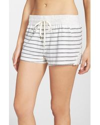 Splendid Lace Trim Stripe Sleep Shorts - Lyst