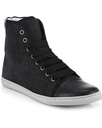 Lanvin Croc-Embossed Leather High-Top Sneakers - Lyst