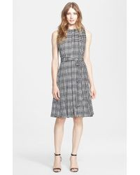 L'Agence Checkered Matte Satin Fit-and-Flare Dress - Lyst