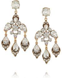 Oscar de la Renta Gold-plated Swarovski Crystal Clip Earrings - Lyst