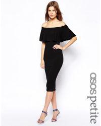 Asos Ruffle Top Bardot Midi Dress - Lyst