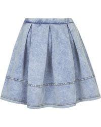 Topshop Womens Denim Look Flippy Skirt Denim - Lyst