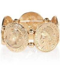 River Island Gold Tone Coin Repeater Bracelet - Lyst