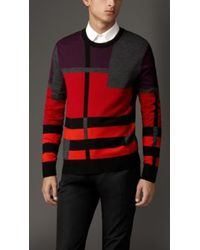 Burberry Abstract Check Merino Wool Sweater - Lyst