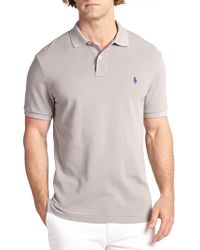 Polo Ralph Lauren Slim-Fit Cotton Mesh Polo gray - Lyst