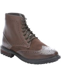 Ben Sherman Dark Brown Leather Sarge Lace-up Wingtip Ankle Boots - Lyst