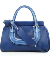 Chloé Everston Medium Double-Carry Leather & Snakeskin Satchel - Lyst