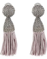 Oscar de la Renta Short Silk Tassel C Earrings - Lyst
