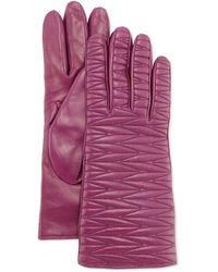 Portolano Woven-Topstitched Leather Gloves - Lyst