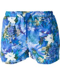 Etro Flower Print Swim Shorts - Lyst