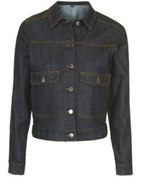 Topshop Moto Raw Denim Crop Jacket blue - Lyst
