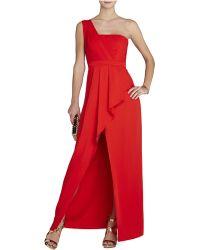BCBGMAXAZRIA Kristine One-Shoulder Peplum Gown - Lyst
