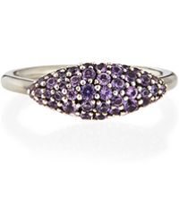 Alexis Bittar Fine - Sterling Silver Pave Purple-Gray Sapphire Marquise Ring - Lyst