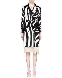 Diane von Furstenberg | 'libby' Zebra Print Wool-silk Trench Coat | Lyst