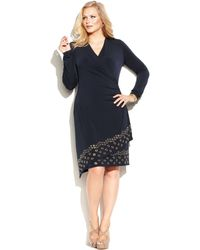 Michael Kors Michael Plus Size Faux-wrap Grommet Dress - Lyst
