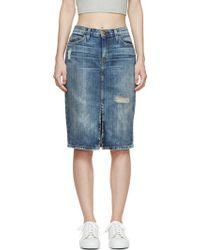 Current/Elliott Blue Denim The High Waist Pencil Skirt - Lyst