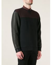 Diesel Black Panelled Sweatshirt - Lyst