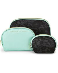Adrienne Vittadini - 3-Piece Black Lace Dome Cosmetic Bags - Lyst