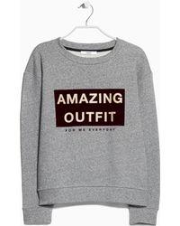 Mango Velvet Print Sweatshirt gray - Lyst