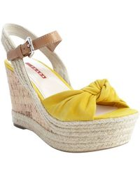Prada Sport Yellow Leather Knotted Cork and Jute Wedge Sandals - Lyst