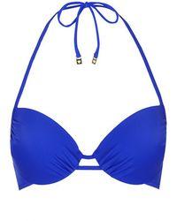 Topshop Deep Blue Plunge Bikini Top - Lyst