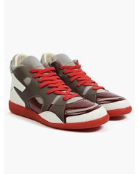 Maison Margiela 22 Men'S Red Leather And Neoprene Sneakers gray - Lyst