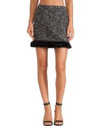 Nanette Lepore Undercover Skirt with Rabbit Fur Trim - Lyst