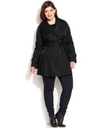 DKNY Plus Size Buttoned Trench Coat - Lyst
