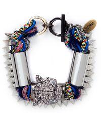 Venna - Crystal Jaguar Head Multi-thread Bracelet - Lyst