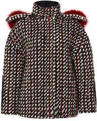 Carolina Herrera Knit Tweed Jacket With Fur Collar - Lyst