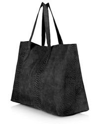 Topshop Snake-Effect Suede Shopper Bag - Lyst