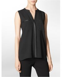 Calvin Klein White Label Faux Leather Trim Button Front Sleeveless Top - Lyst