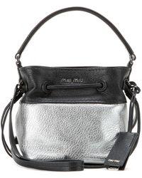 Miu Miu Metallic-Detail Mini Leather Bucket Bag - Lyst