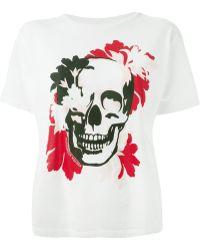 Alexander McQueen Floral Skull Print T-Shirt - Lyst