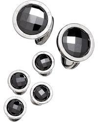 Jan Leslie - Round Hematite Cuff Link And Stud Set - Lyst