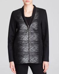 Elie Tahari Enya Zip-Front Coat W/ Linear Print - Lyst