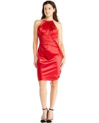 Eliza J Red Necklace Halter Dress - Lyst