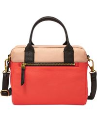 Fossil Erin Leather Color-block Satchel - Lyst