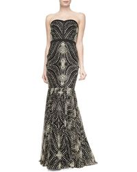 Badgley Mischka Collection Strapless Beaded-Pattern Mermaid Gown - Lyst