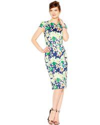 Betsey Johnson Floral-Print Midi Scuba Sheath Dress blue - Lyst