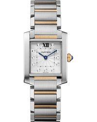 Cartier Tank Francaise Diamond 18k Rose Gold  Stainless Steel Medium Bracelet Watch - Lyst