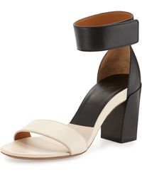 Chloé Two-tone Block-heel Sandal - Lyst
