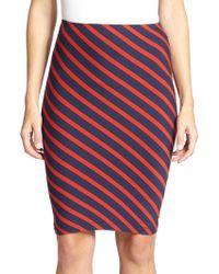 Karina Grimaldi Emilio Striped Pencil Skirt blue - Lyst