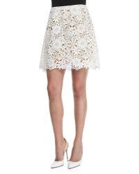 Oscar de la Renta Floral Guipure Lace A-Line Skirt - Lyst