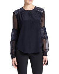 Rebecca Taylor Silk Lace-Panel Top blue - Lyst